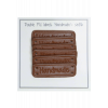Dobbelt PU- læder label - brun - 5 x 1,5 cm - stk/6
