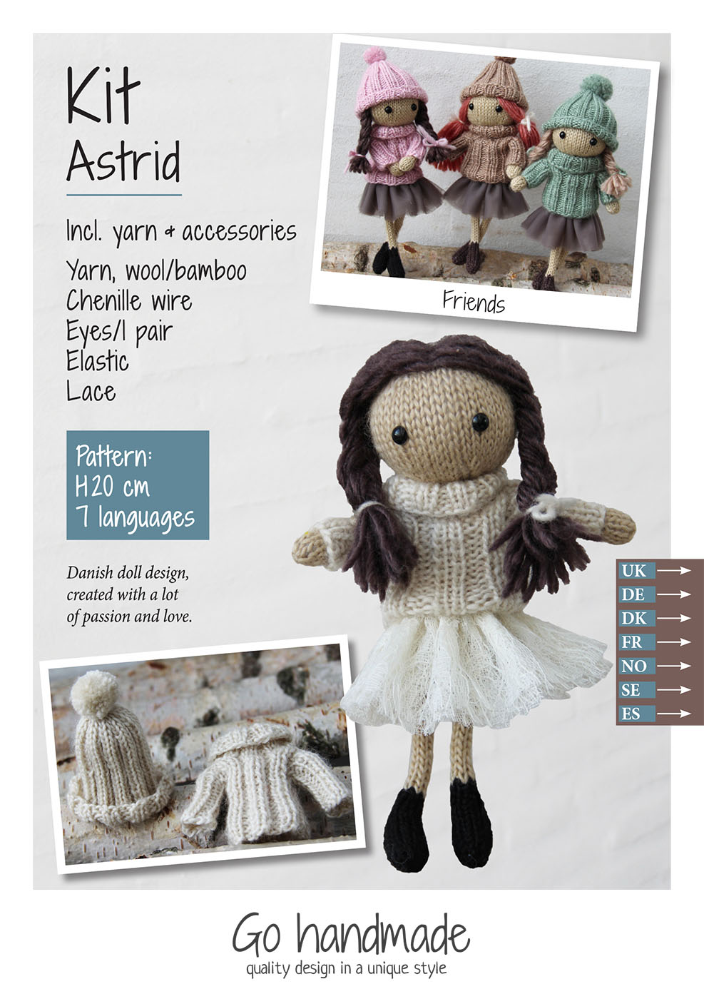 Astrid - knitting kit - hair/dark brown - dress/off-white - lace ...