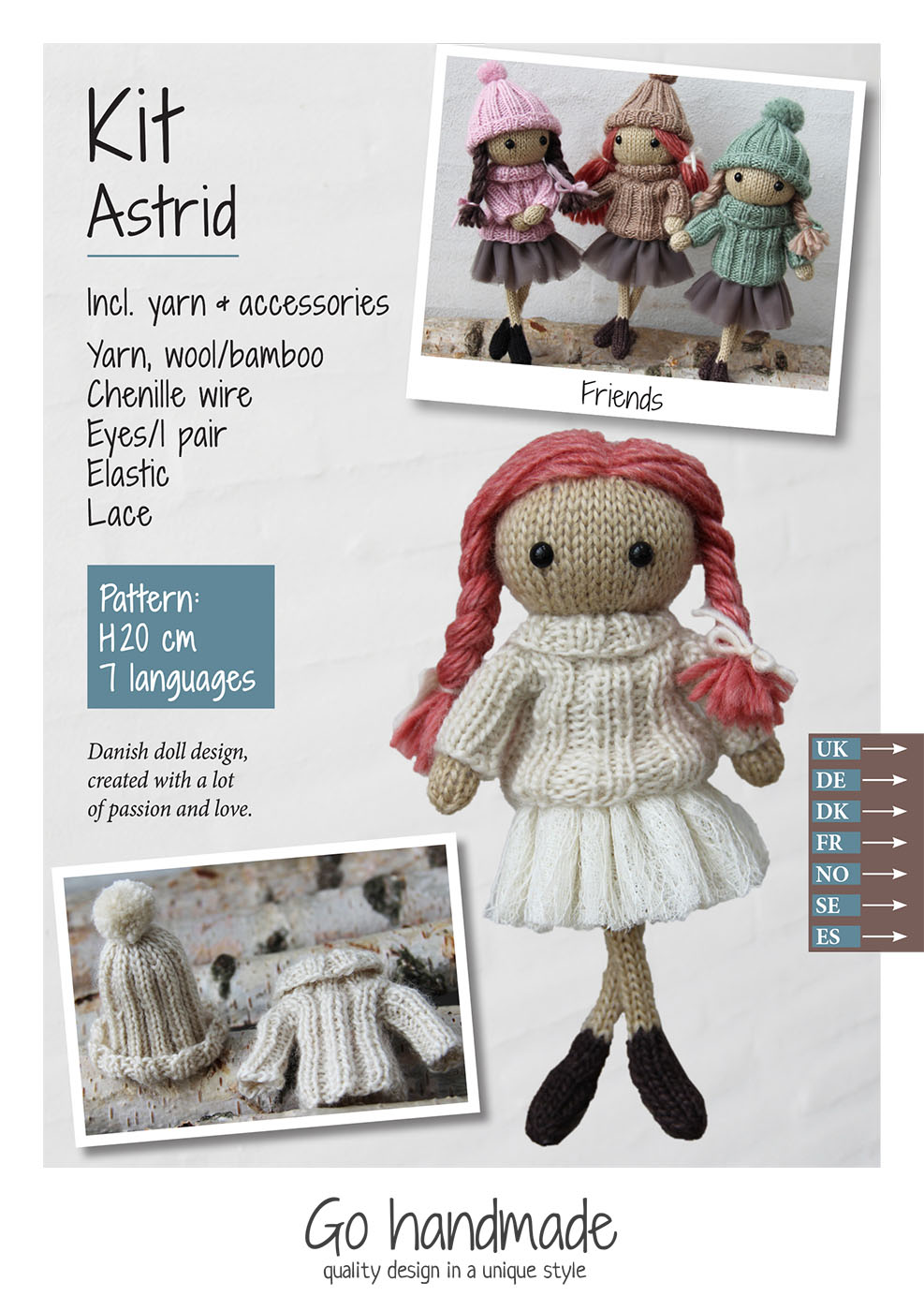 Astrid - knitting kit - hair/old red - dress/off-white - lace ...