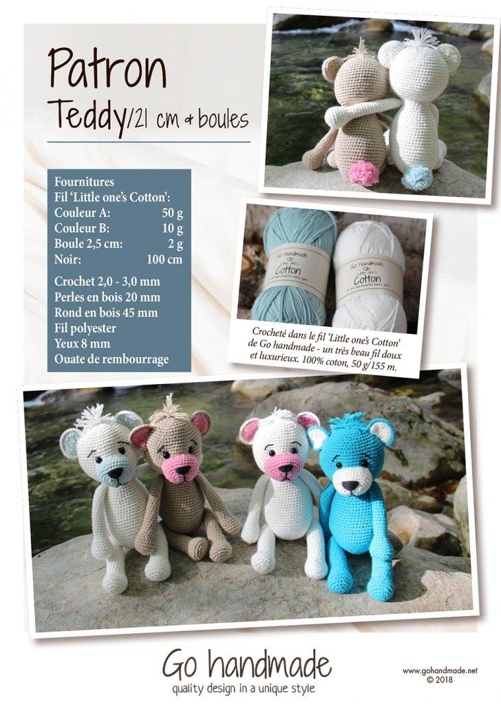 Teddy/ 21 cm & beads - FR