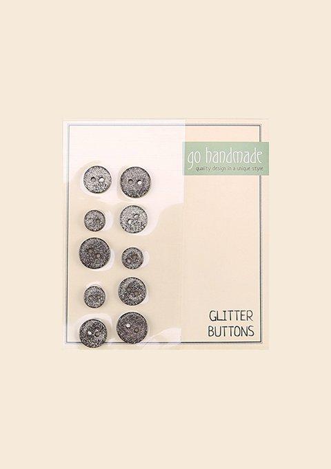 GLITTER KNAPPER - SORT 10 stk. (9, 11 & 13 MM)