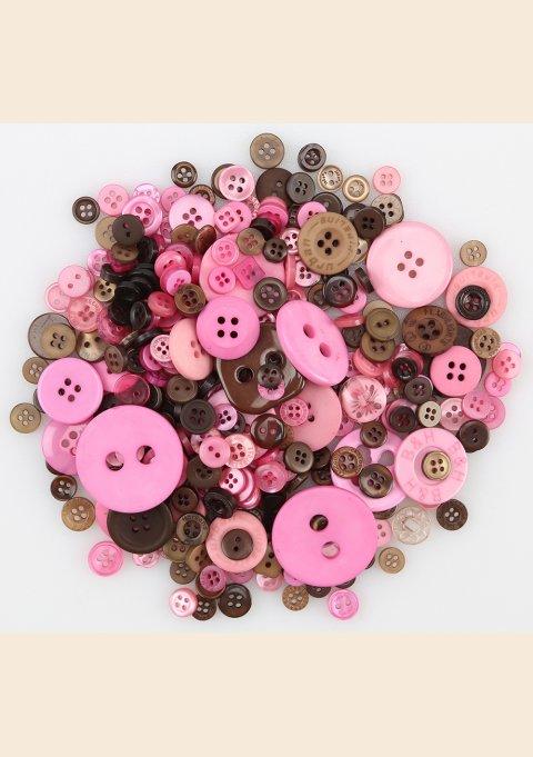 MIX KNAPPER, PLASTIK - PINK/BRUN 100 G