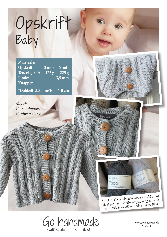 9bc4663869c Cardigan cable - DK - Strikket babytøj - Go Handmade