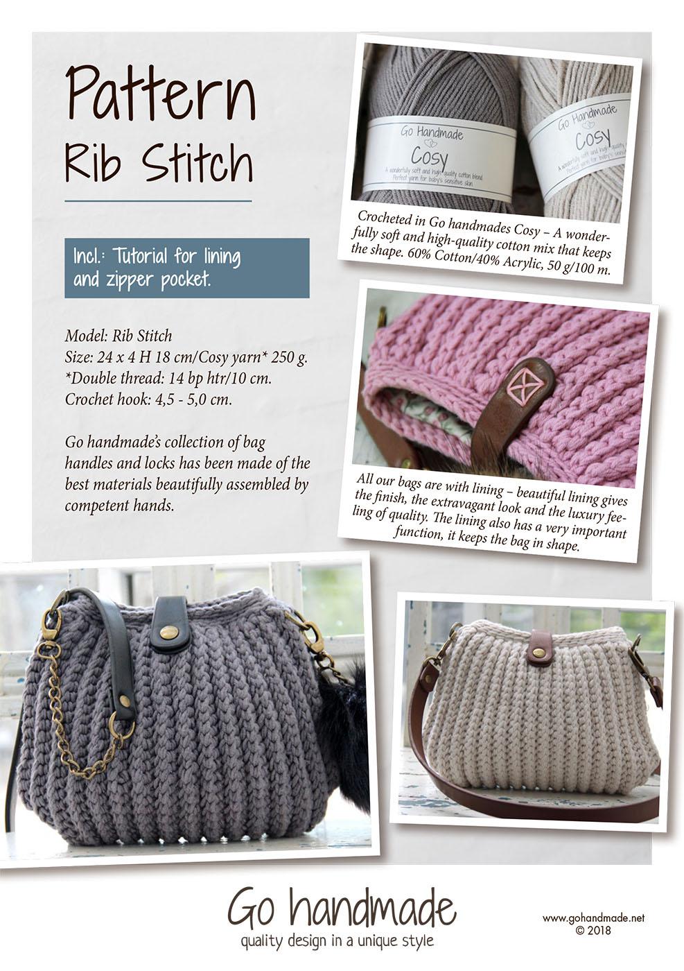 681551b8 Rib stitch - UK - Crocheted handbags, trays & baskets - Go Handmade