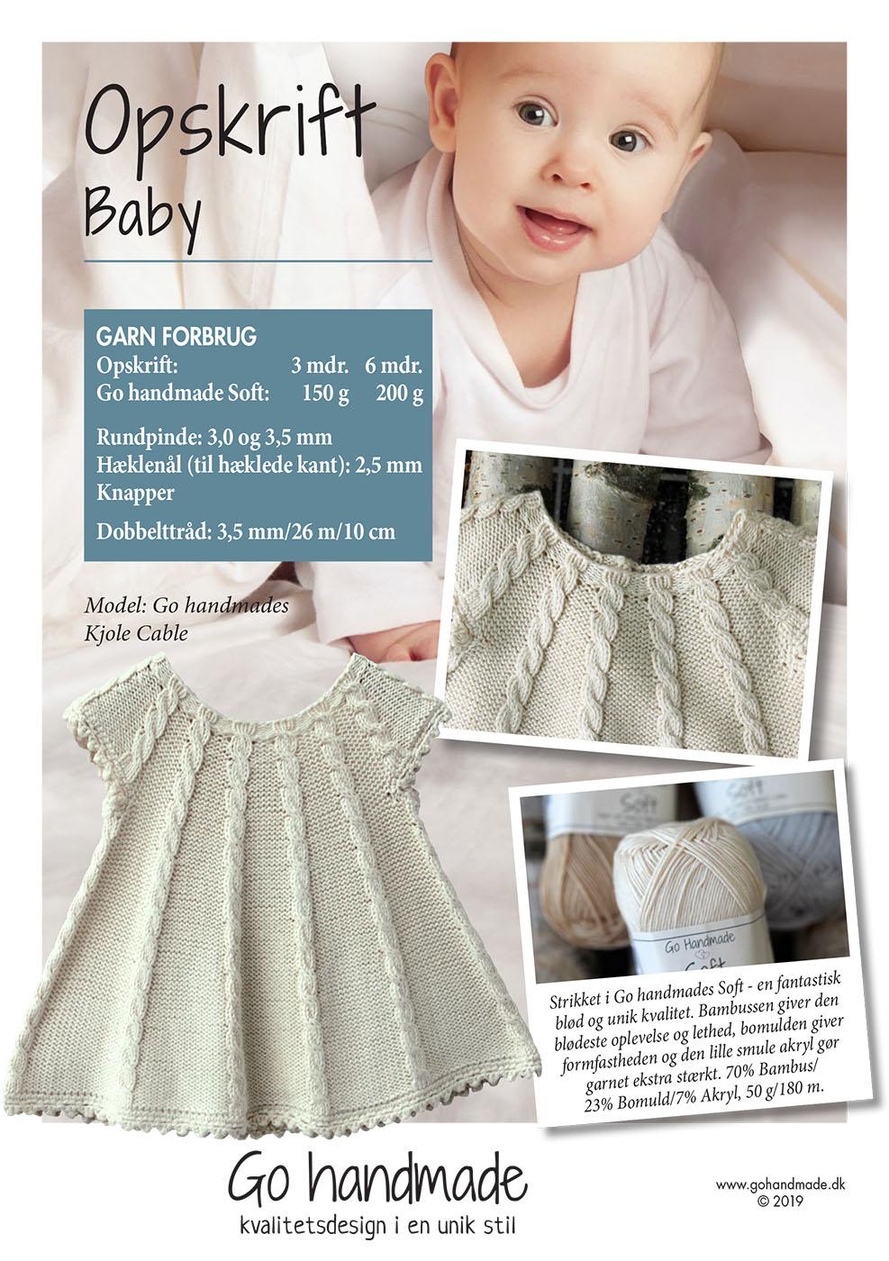 52fc55eb925 Kjole Cable - DK - Strikket babytøj - Go Handmade